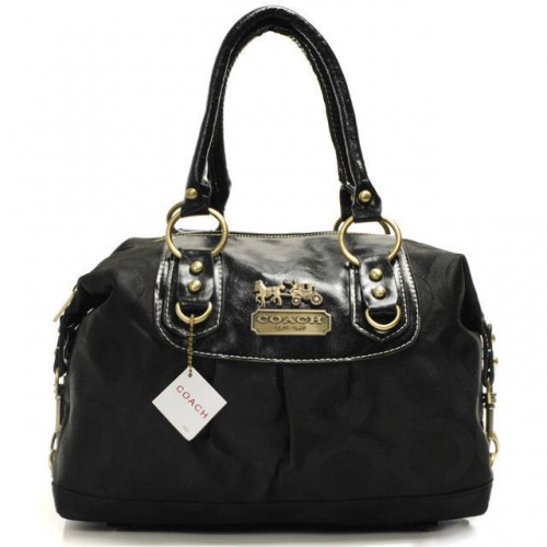 Coach Madison In Signature Medium Black Satchels AAV