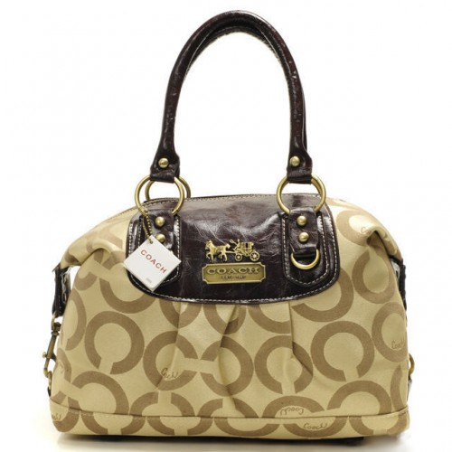Coach Madison In Signature Medium Khaki Satchels AAW