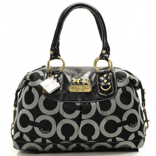 Coach Madison In Signature Medium Black Satchels AAX