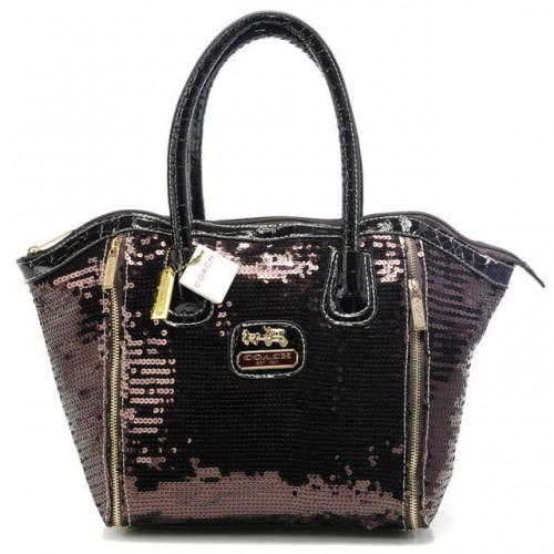 Coach Poppy Blaire In SequIn Signature Small Coffee Totes ABJ