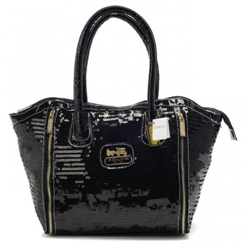 Coach Poppy Blaire In SequIn Signature Small Black Totes ABL