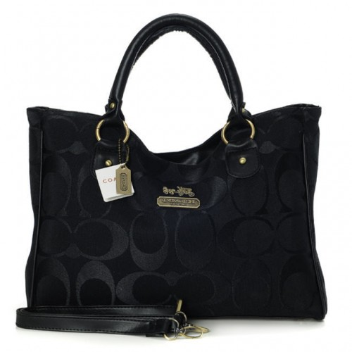 Coach Legacy In Signature Large Black Satchels ACA
