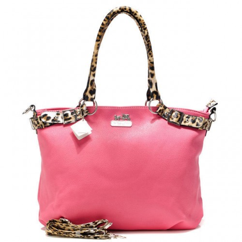 Coach Madison Leopard Large Pink Satchels ACK