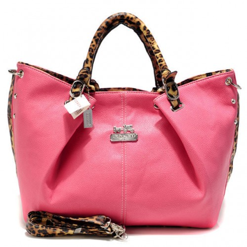 Coach Madison Leopard Large Pink Satchels ACO