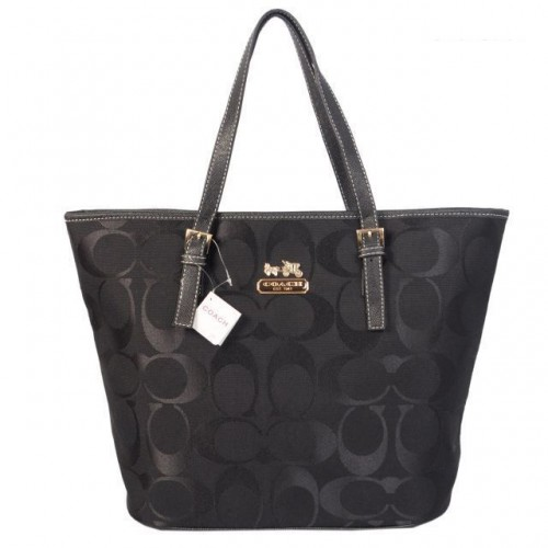 Coach Legacy In Signature Medium Black Totes ACQ
