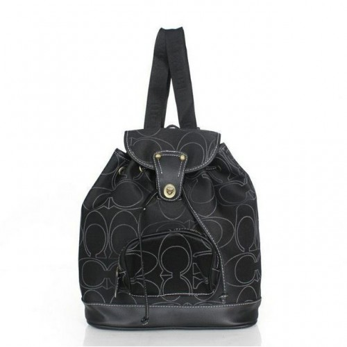 Coach Classic In Signature Medium Black Backpacks ACY