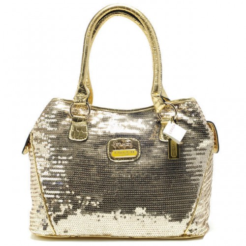 Coach Poppy In SequIn Signature Medium Gold Totes ADY