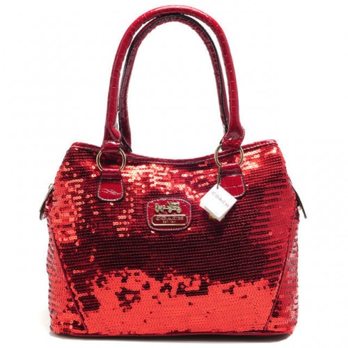 Coach Poppy In SequIn Signature Medium Red Totes ADZ