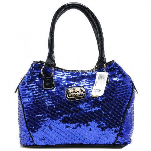 Coach Poppy In SequIn Signature Medium Blue Totes AEA