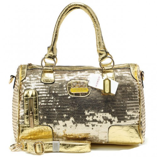 Coach Poppy East West In SequIn Signature Large Gold Satchels AE