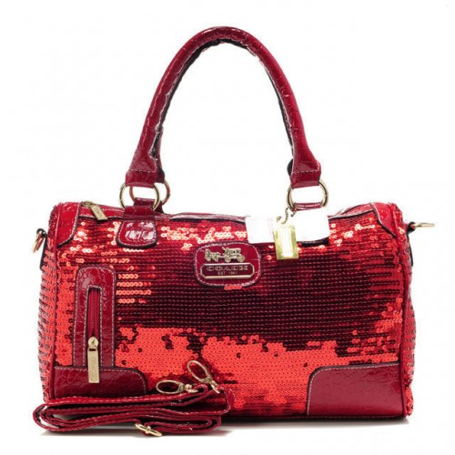 Coach Poppy East West In SequIn Signature Large Red Satchels AED