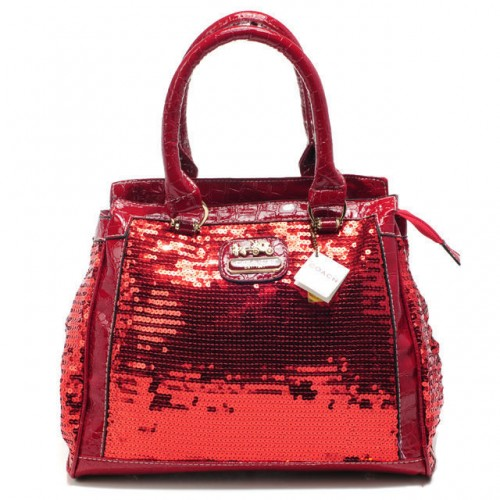 Coach Poppy In SequIn Signature Medium Red Totes AEE