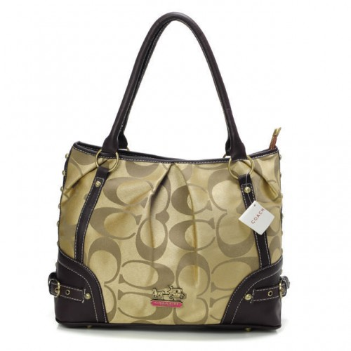 Coach Poppy In Signature Medium Khaki Totes AEJ