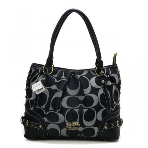 Coach Poppy In Signature Medium Black Totes AEK