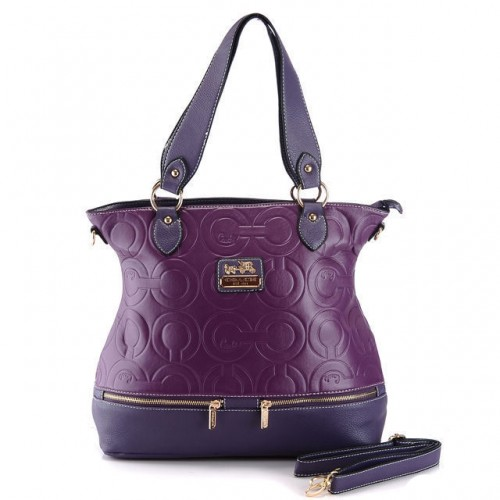 Coach Hamptons In Printed Signature Large Purple Totes AEM