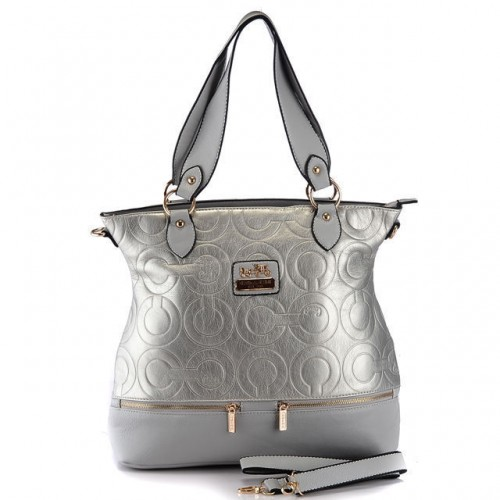 Coach Hamptons In Printed Signature Large Silver Totes AEP