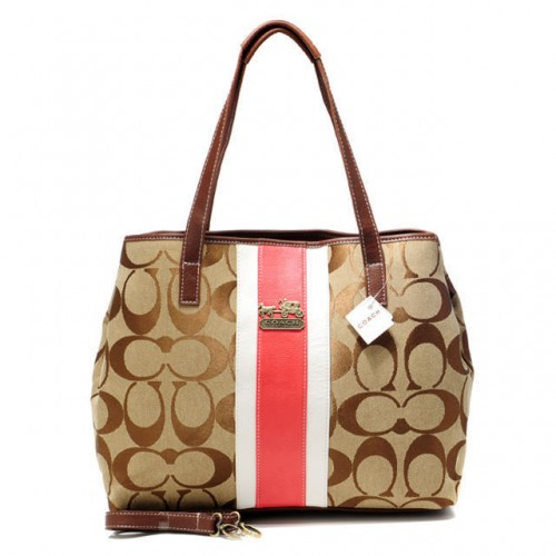 Coach Hamptons Weekend Signature Stripe Medium Khaki Totes AEW