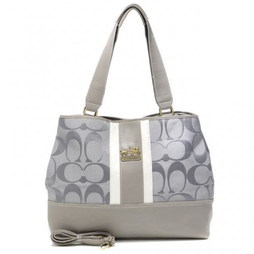 Coach Hamptons Weekend Signature Stripe Large Grey Totes AEY