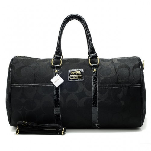 Coach Bleecker Monogram In Signature Large Black Luggage Bags AF