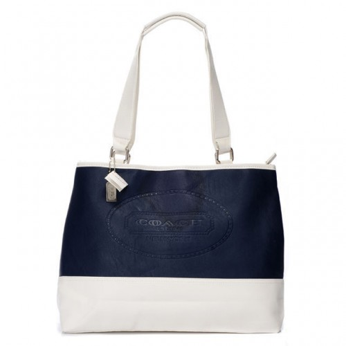 Coach Hamptons Weekend Perforated Medium Navy Totes AGB