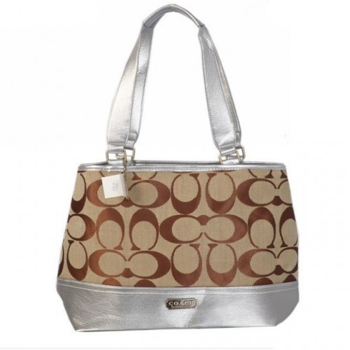 Coach Hamptons Weekend Signature Colorblock Large Silver Totes A