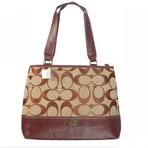Coach Hamptons Weekend Signature Colorblock Large Brown Totes AG