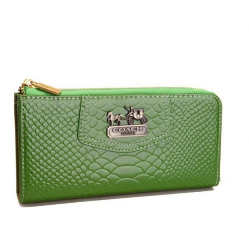 Coach Madison Continental Zip In Croc Embossed Large Green Walle