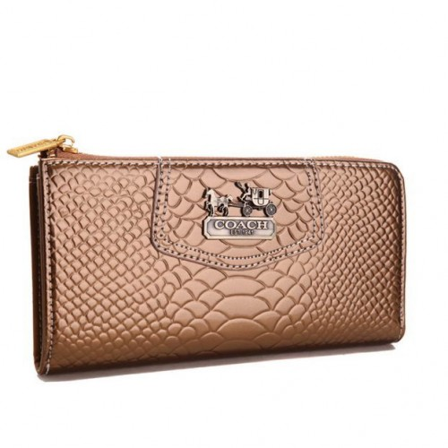 Coach Madison Continental Zip In Croc Embossed Large Bronze Wall