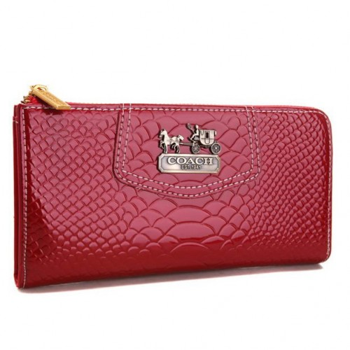 Coach Madison Continental Zip In Croc Embossed Large Red Wallets