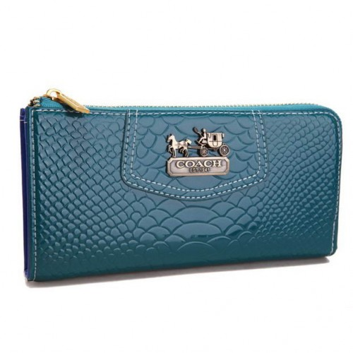 Coach Madison Continental Zip In Croc Embossed Large Blue Wallet