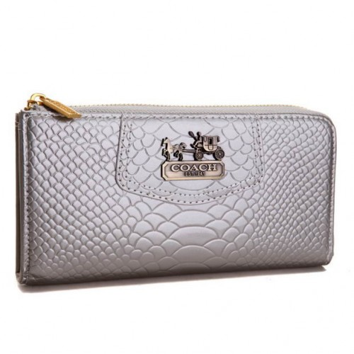 Coach Madison Continental Zip In Croc Embossed Large Silver Wall