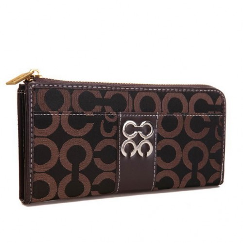 Coach Madison Accordion Zip In Signature Large Coffee Wallets AG