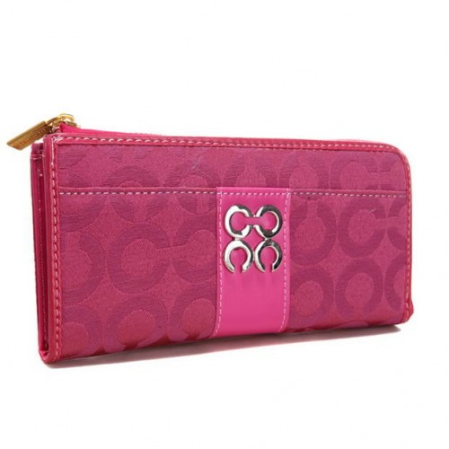 Coach Madison Accordion Zip In Signature Large Fuchsia Wallets A