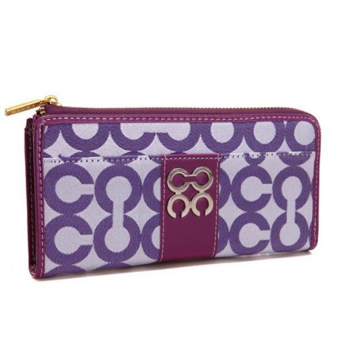Coach Madison Accordion Zip In Signature Large Purple Wallets AG