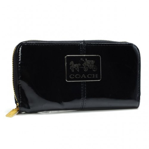 Coach Madison Smooth Large Black Wallets AHA