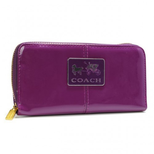 Coach Madison Smooth Large Purple Wallets AHC