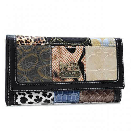 Coach Holiday Logo Medium Black Wallets AHM