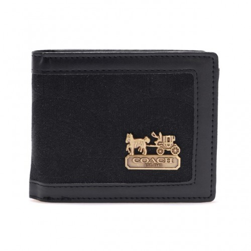 Coach In Signature Large Black Wallets AID