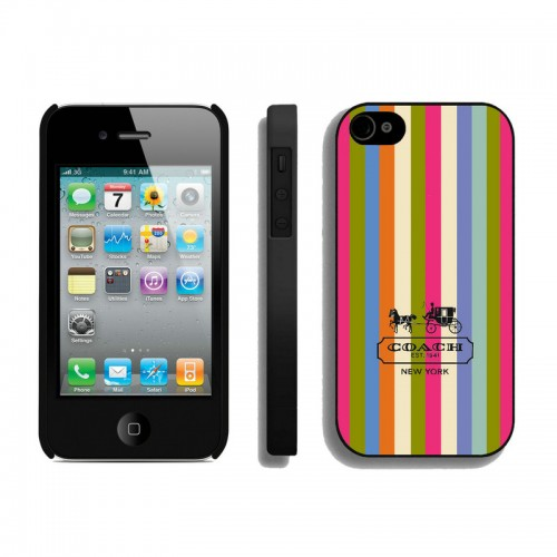 Coach Stripe Multicolor iPhone 4 4S Cases AIL