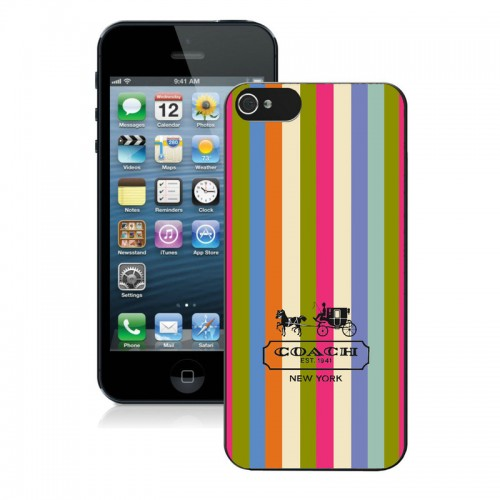 Coach Stripe Multicolor iPhone 5 5S Cases AIV