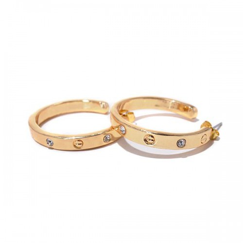 Coach Ring Stud Gold Earrings AJY
