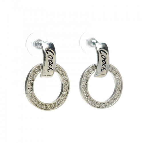 Coach Diamond Circle Stud Silver Earrings AKB