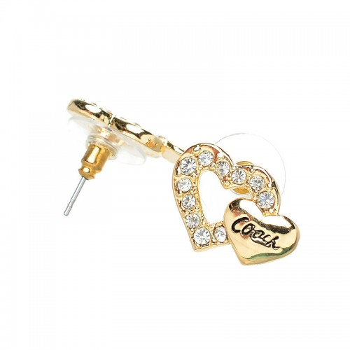 Coach Double Heart Gold Earrings AKC