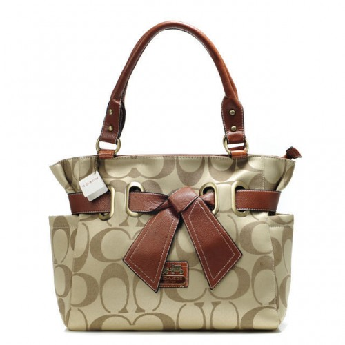 Coach Poppy Bowknot Signature Medium Khaki Totes AMZ