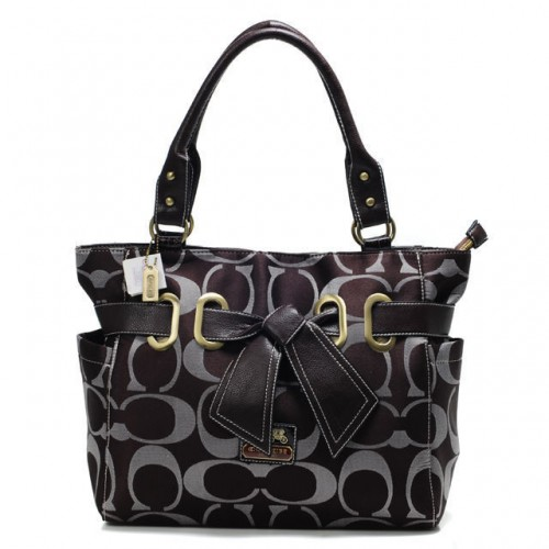 Coach Poppy Bowknot Signature Medium Coffee Totes ANA