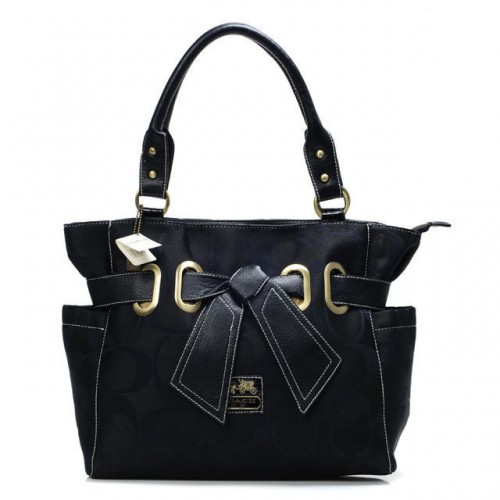 Coach Poppy Bowknot Signature Medium Black Totes ANB