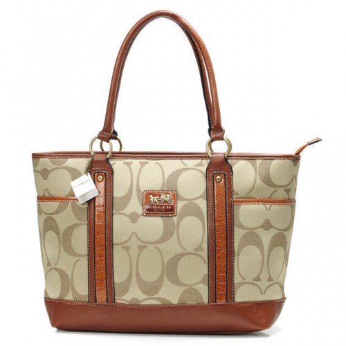 Coach Madison In Signature Large Khaki Totes ANE