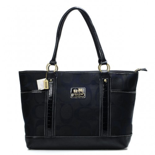 Coach Madison In Signature Large Black Totes ANG