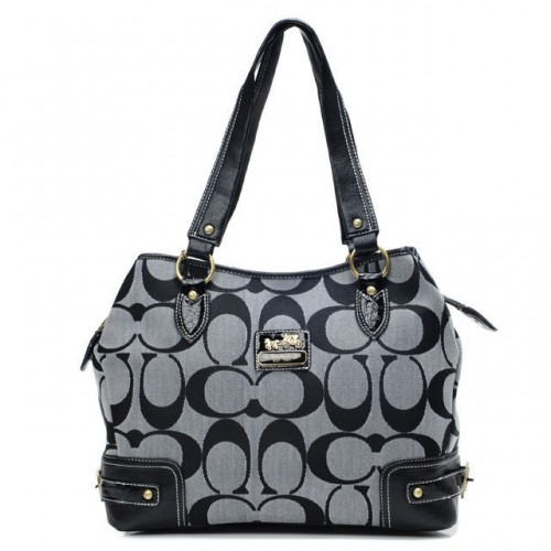 Coach Hamptons In Printed Signature Large Grey Totes ANM