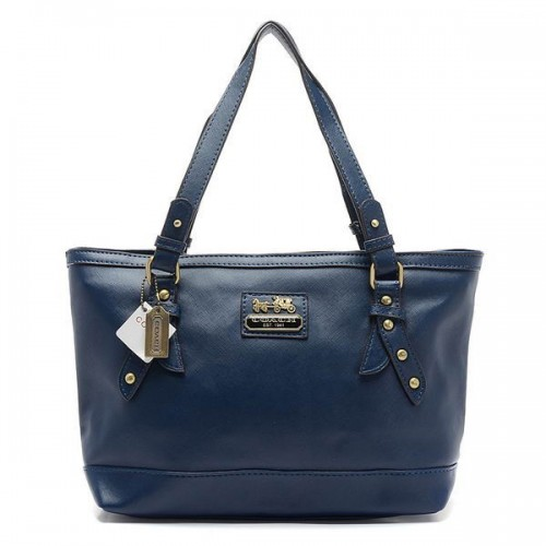 Coach City Saffiano Large Navy Totes AOA